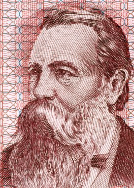 Friedrich Engels (1820-1895) on 50 Marks 1951 Banknote from East Germany. German social scientist, author, political theorist, philosopher and father of Marxist theory alongside Karl Marx. stock vector