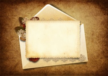 Victorian background with elegant postcard