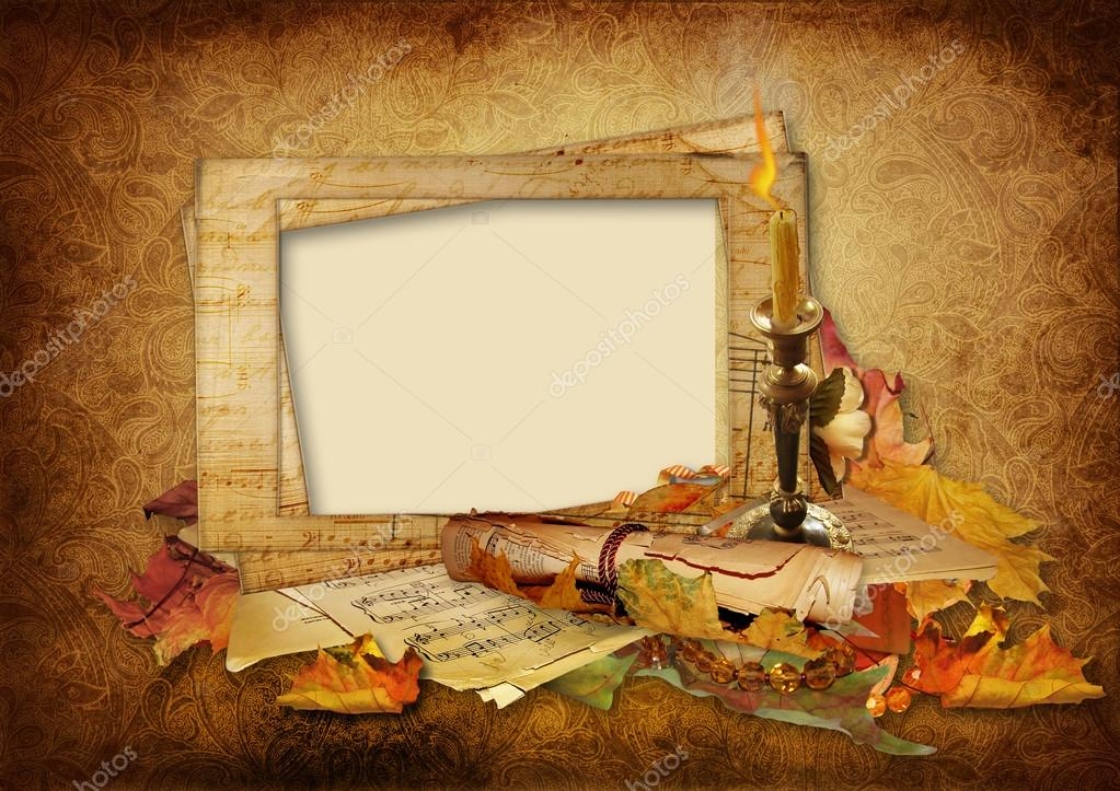 Vintage background with beautiful photo frames — Stock Photo ...
