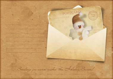 Vintage Christmas card with envelope for congratulations and invitations, with a place for text or photo stock vector
