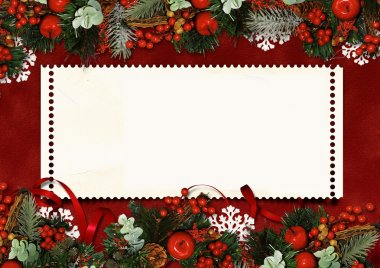 Vintage Christmas card with space for text or photo