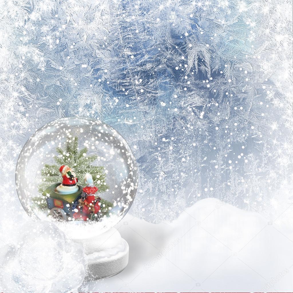 Weihnachten-Schneekugel auf den Frost-hintergrund — Stockfoto ...