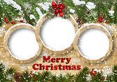 Fotografie Weihnachten Hintergrund mit Rahmen und Tanne Zweig