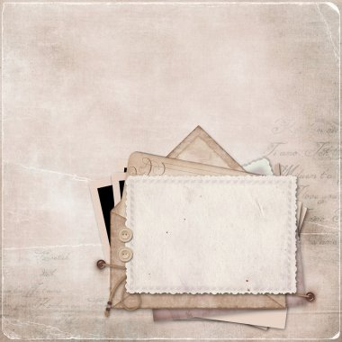 Vintage background with a stack of old postcards and letters