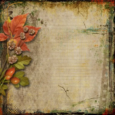 Grunge background with old postcards and autumn leaves