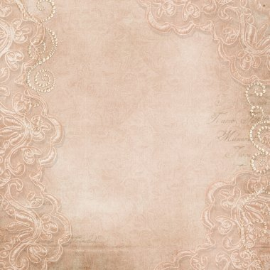 Vintage background with lace and pearls