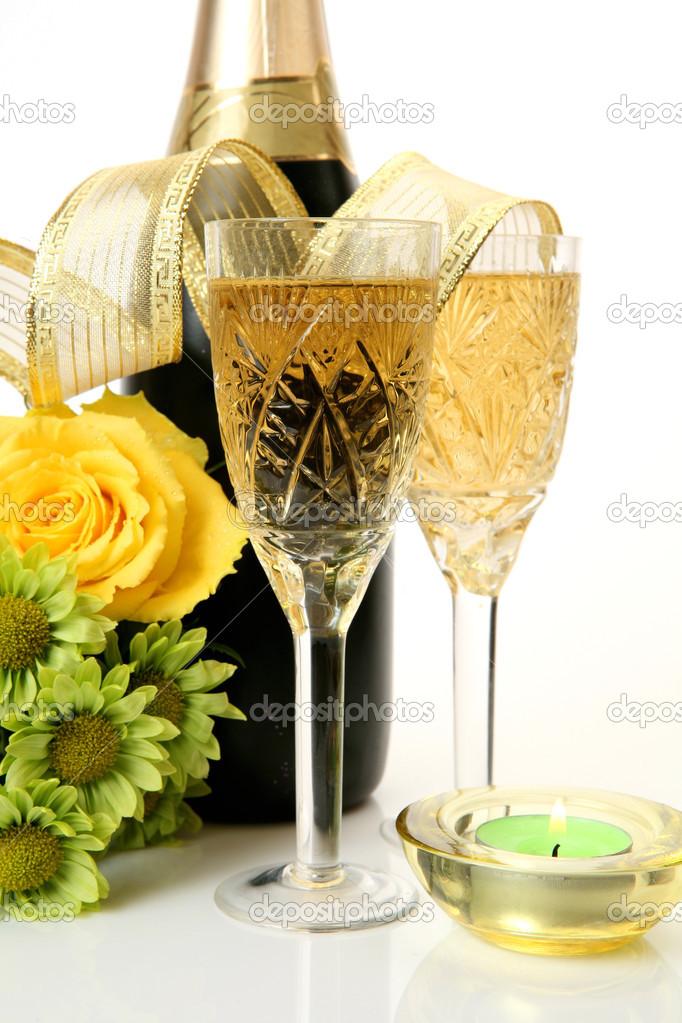 bilder på blommor och champagne
