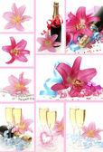 šampaňské a růžové lilie