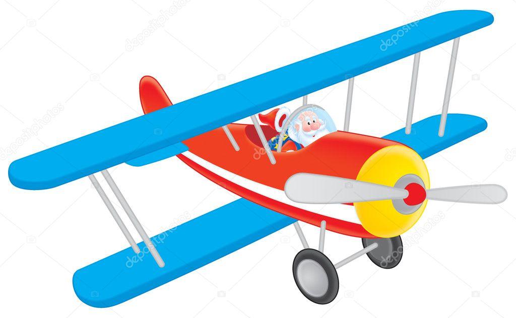 Картинки дед мороз на самолете для детей