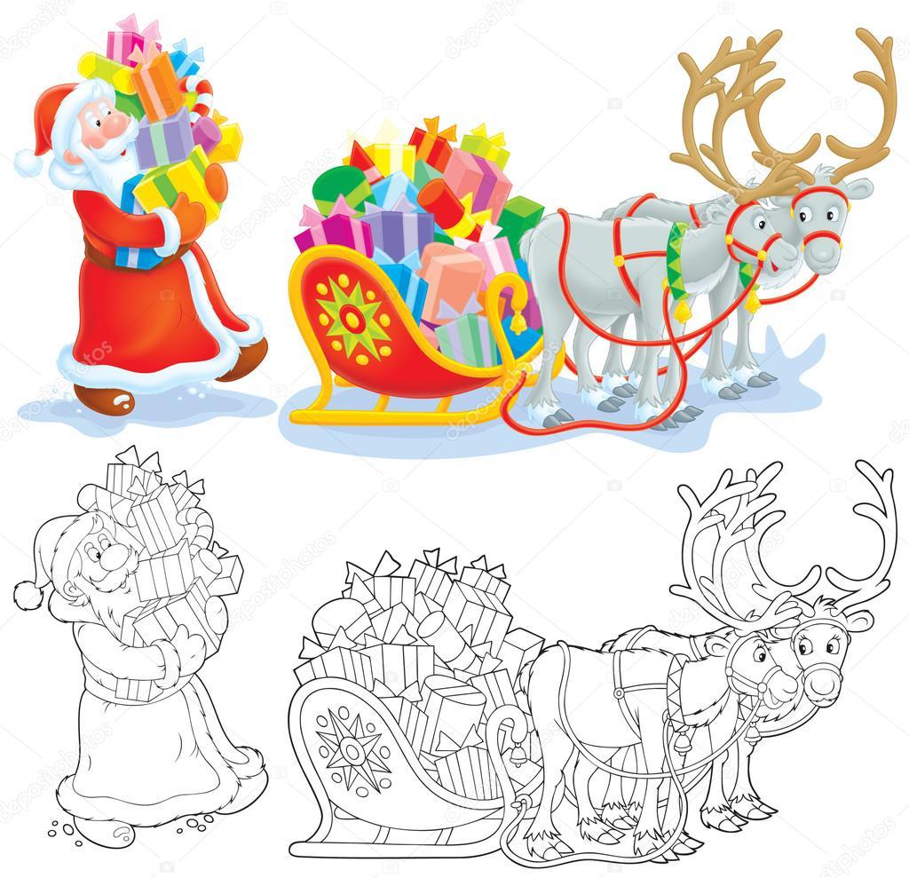 サンタはそりにクリスマス プレゼントを読み込みます ストック写真