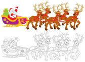 Santa claus s vánoční dárky jednotek v saních tažených soby