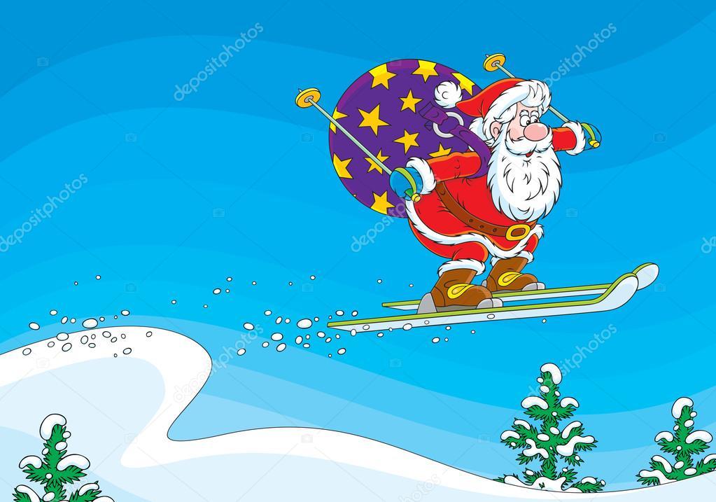 der weihnachtsmann fliegt nach eine skisprungschanze mit. Black Bedroom Furniture Sets. Home Design Ideas