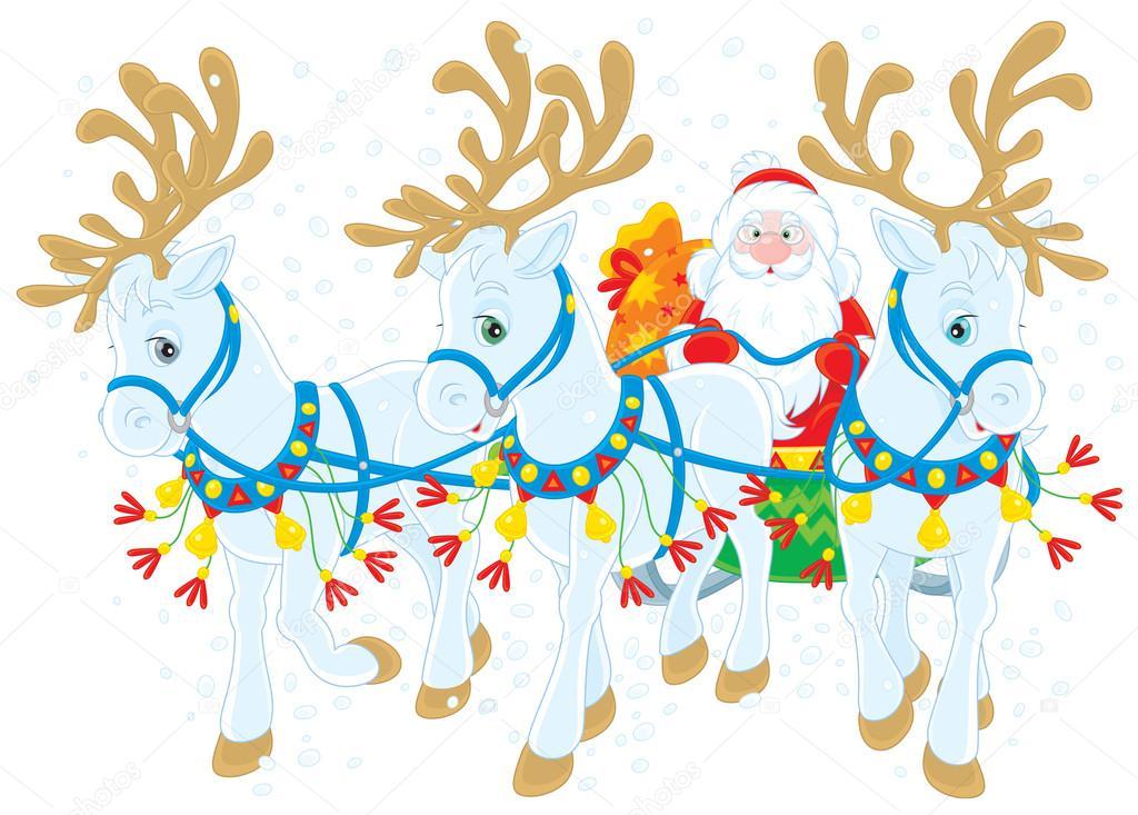 Santa Claus Con Regalos De Navidad En Su Trineo Tirado Por