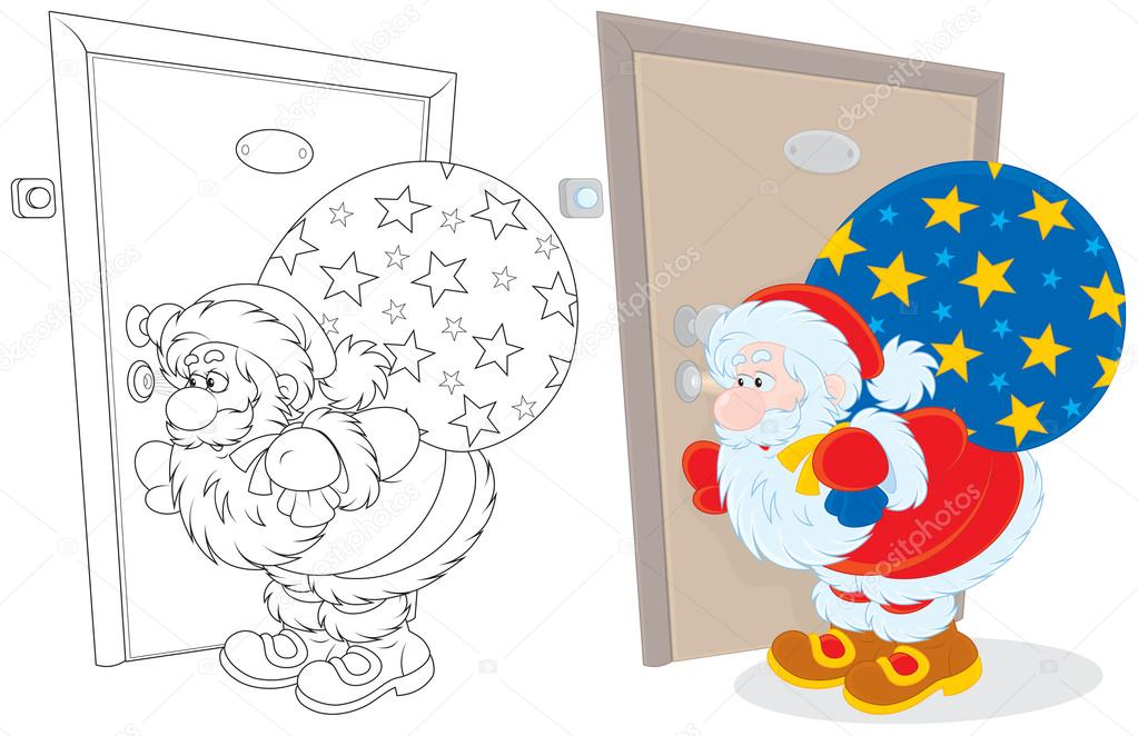 Santa Claus holding his sack of Christmas presents and peeping through a keyhole