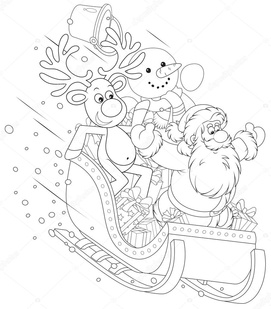 santa reindeer and snowman in a sleigh u2014 stock vector