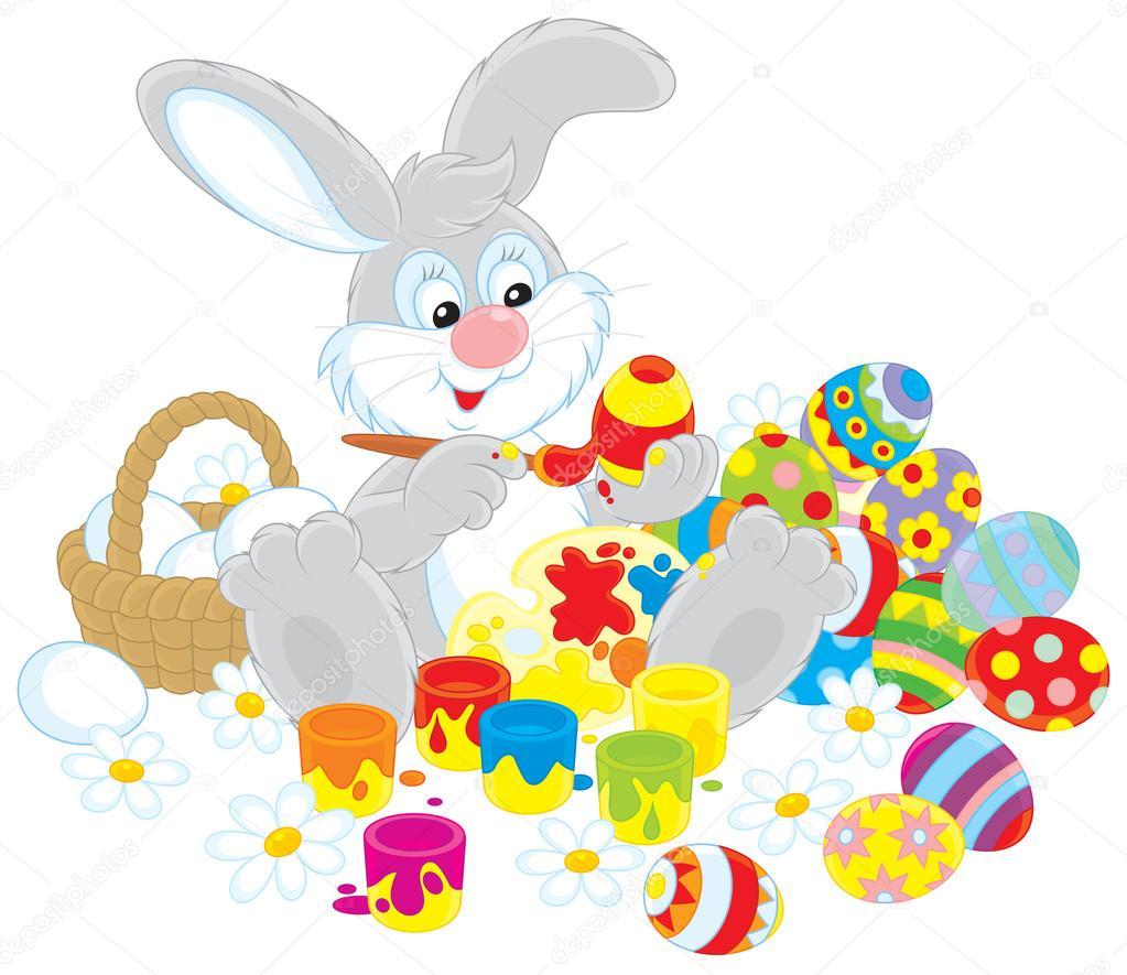 conejo de Pascua pintando huevos de Pascua para las próximas ...