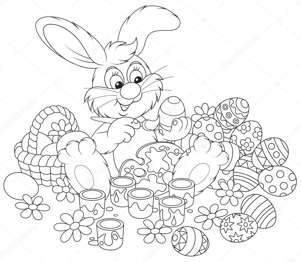 Easter Bunny Paskalya Yumurtaları Yaklaşan Tatil Için Boyama Stok