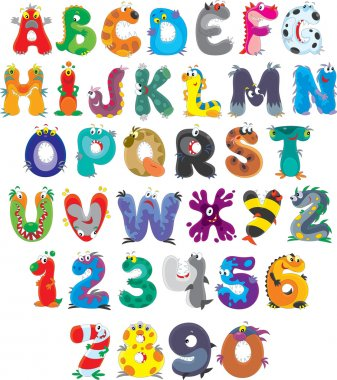 English alphabet with funny monsters