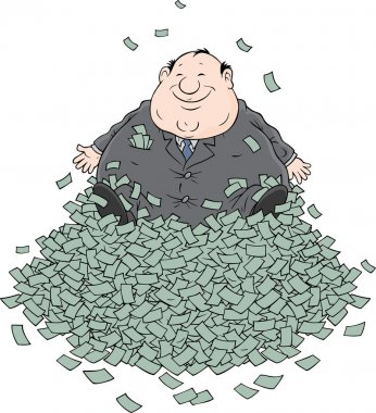 Profit, Fat businessman sitting on a big pile of money