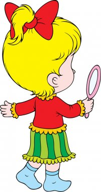 Little blond girl with magnifying glass