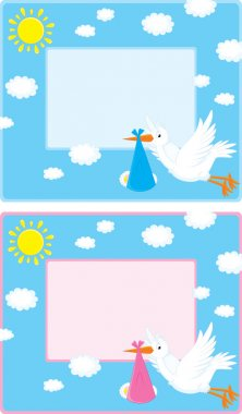 Vector border with a flying white stork