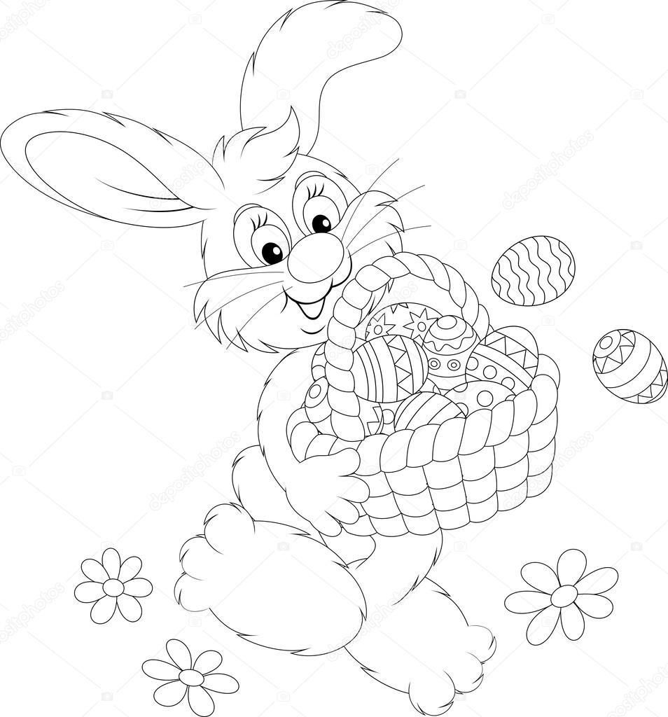 conejo de Pascua llevando una cesta de huevos de Pascua pintados ...
