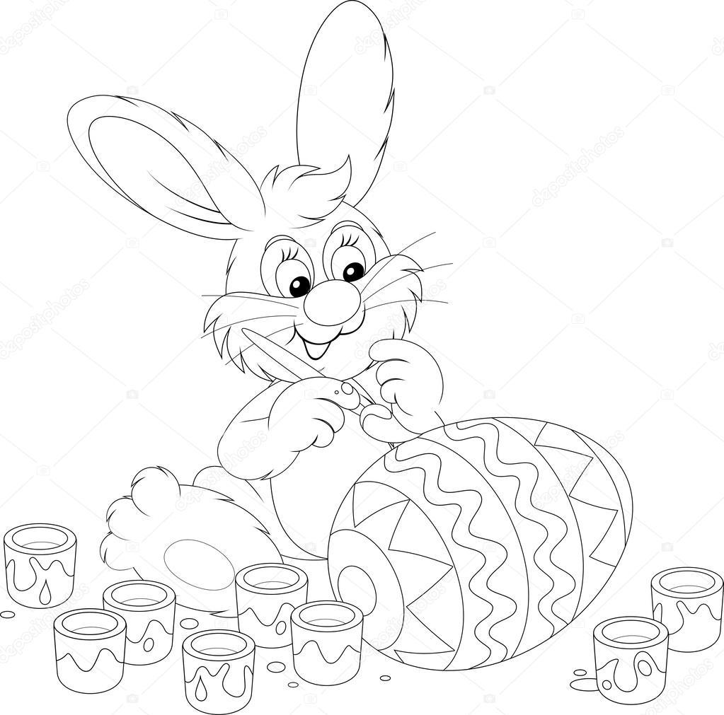 conejo de Pascua pintando un gran huevo de Pascua — Vector de stock ...