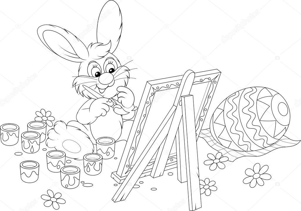 conejo de Pascua dibujo un huevo de Pascua decorados — Archivo ...