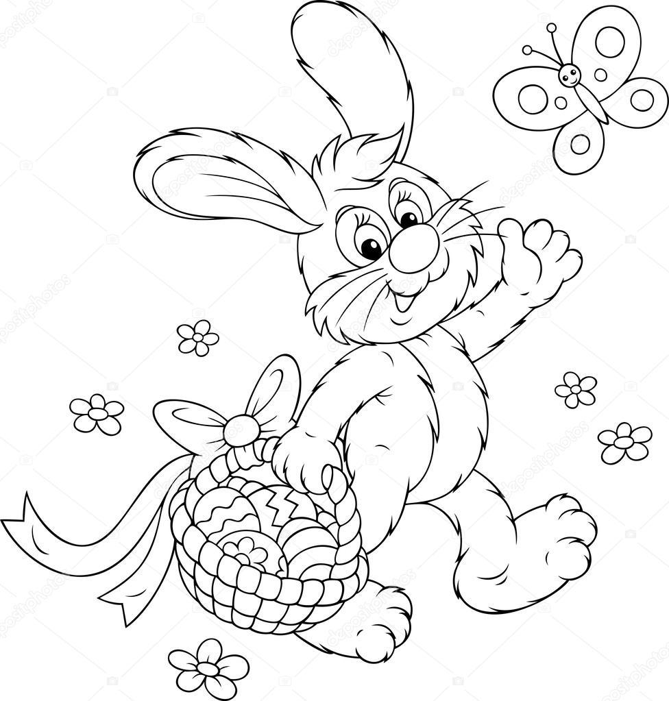 conejo de Pascua con una canasta de huevos — Vector de stock ...