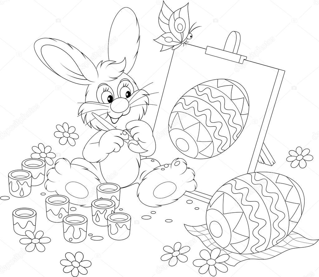 Easter Bunny Drawing A Decorated Egg Stock Vector 30853263