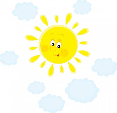Smiling bright sun and blue cloud lets