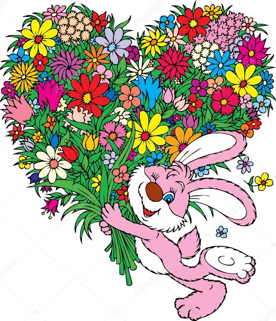 Ухожу красиво, зайчик с цветами открытки