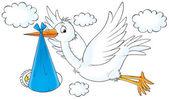 létající Čáp bílý pták