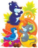 roztomilá myš, gopher a pták