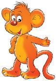 šťastné oranžové opice s úsměvem