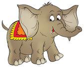 Netter brauner Zirkuselefant mit Decke auf dem Rücken