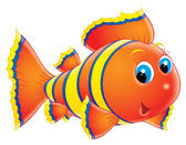 Cute blue eyed orange fish with yellow and blue stripes