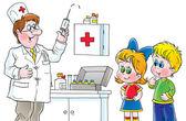 Doctor preparing a syringe for shots