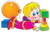 blondýnka, kterým se a hrát si s hračkami