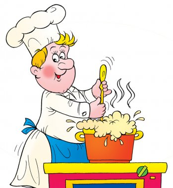 Chef stirring a pot of foaming soup