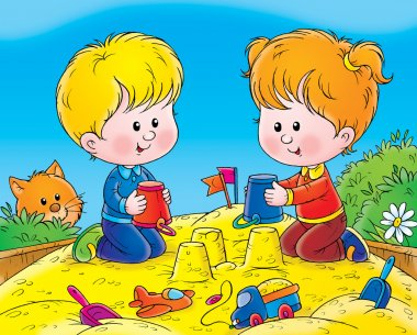 Boy and girl making sand castles with buckets in a sand box.