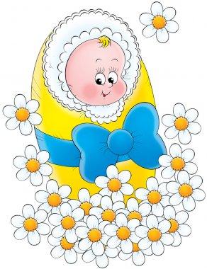 Happy little newborn baby