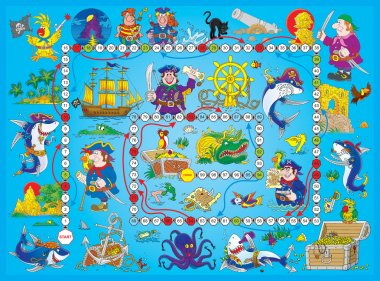 Blue pirate board game. stock vector