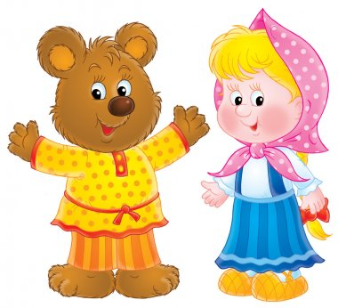 Happy bear in clothes, standing by a little blond girl