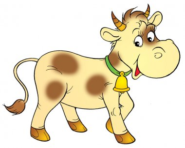 pale yellow cow with brown spots, wearing a bell.