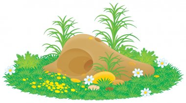 Gopher or mole hill with flowers and grass