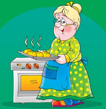 Granny taking hot rolls out of an oven