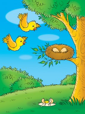 Yellow birds flying towards their eggs in a nest