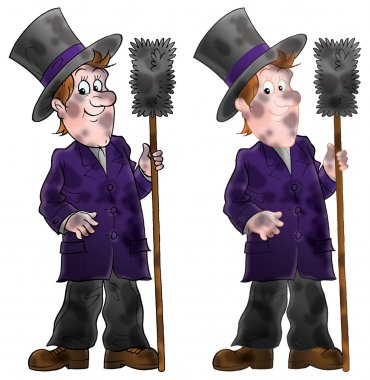 Dirty chimney sweep holding a brush