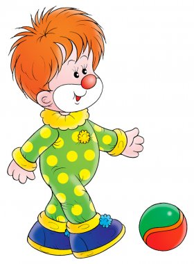 Red haired clown in a green and yellow polka dot costume